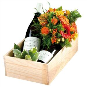 Mixed colourful bouquet with wine
